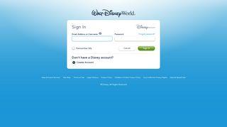 Sign In   Walt Disney World Resort