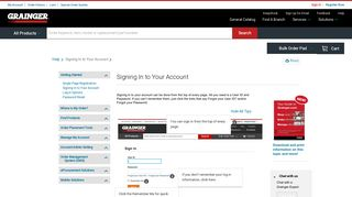 Signing In to Your Account - Grainger Industrial Supply