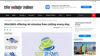 Site2SMS offering 40 minutes free calling every day - The Mobile Indian