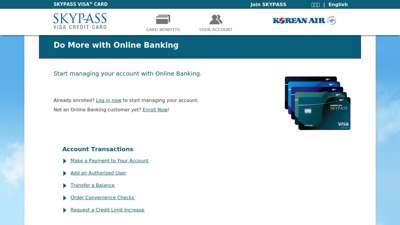 SKYPASS Visa Credit Cards - Online Banking - Korean Air