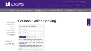 Sterling National Bank Login Page - Personal Online Banking