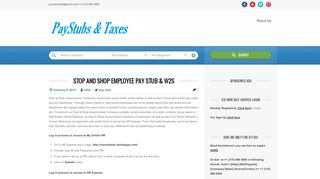 Stop and Shop Employee Pay Stub & W2s   Paystubs & Taxes