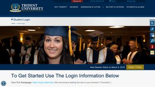 Student Login  Trident University International: Trident ...