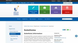 Substitutes - Seattle Public Schools