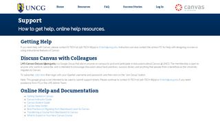 Support   UNCG Canvas Resource Site