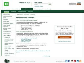 TD Canada Trust - EasyWeb Internet Banking - Supported Browsers