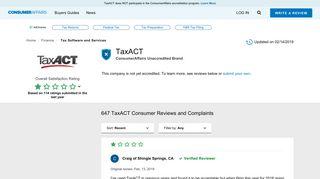 Top 140 Reviews about TaxACT - ConsumerAffairs.com