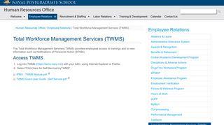 Total Workforce Management Services (TWMS) - Naval Postgraduate ...