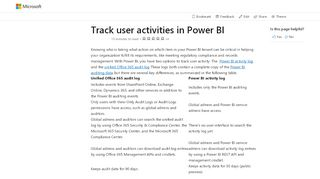 Track user activities in Power BI - Power BI   Microsoft Docs