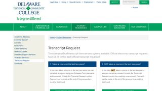Transcript Request | Delaware Technical Community College