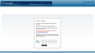 User Login - MyAccess - Georgetown University