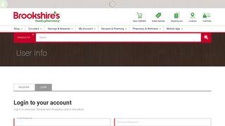 User Login   User Info   Brookshire's Food & Pharmacy