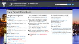 VA State Payroll Operations - Virginia Department of Accounts