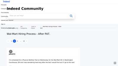 Wal-Mart Hiring Process - After PAT. - Page 2  Indeed.com