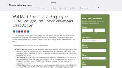Wal-Mart Prospective Employee FCRA Background Check ...