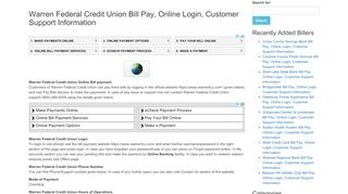 Warren Federal Credit Union Bill Pay, Online Login, Customer ...