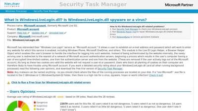 WindowsLiveLogin.dll Windows process - What is it?