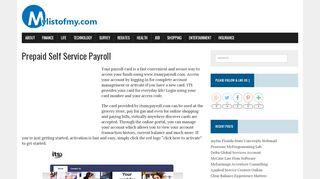 www.itsmypayroll.com - Prepaid Debit Payroll Card   - My List of My