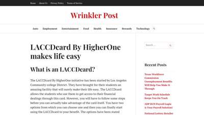 www.mylaccdcard.com: LACCDcard By HigherOne makes life easy