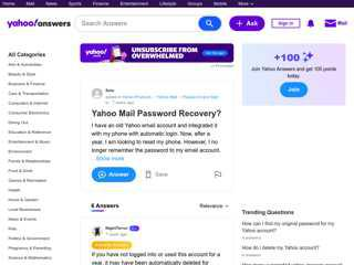 Yahoo Mail Password Recovery?  Yahoo Answers