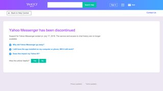 Yahoo Messenger will be discontinued  Account Help - SLN28776