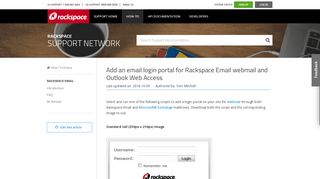 Add an email login portal for Rackspace Email webmail and ...