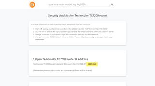 192.168.0.1 - Technicolor TC7200 Router login and password
