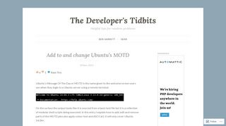 Add to and change Ubuntu's MOTD – The Developer's Tidbits