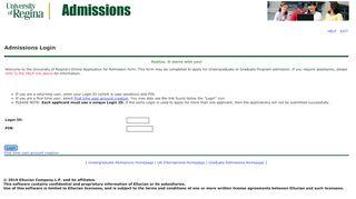 Admissions Login - banner.uregina.ca