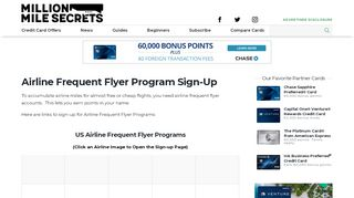 Airline Frequent Flyer Program Sign-Up - Million Mile Secrets