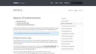 Basics of Authentication   GitHub Developer Guide