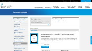 CollegeAmerica client kit — without account application