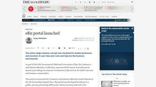 eBiz portal launched - The Hindu