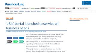 'eBiz' portal launched to service all business needs - The Hindu ...