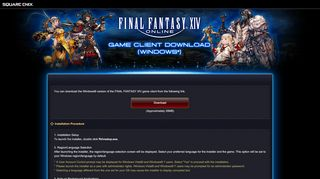 FINAL FANTASY XIV Game Client Download (Windows)