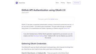 GitHub API Authentication using OAuth 2.0   …