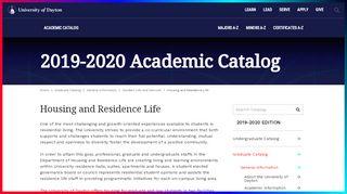 Housing and Residence Life - Udayton - University of Dayton