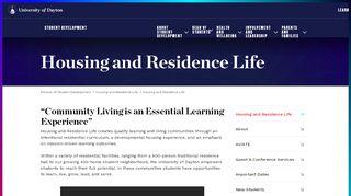 Housing and Residence Life : University of Dayton, Ohio