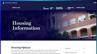 Housing Information : University of Dayton, Ohio