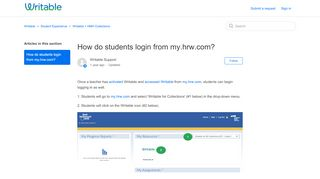 How do students login from my.hrw.com? – Writable