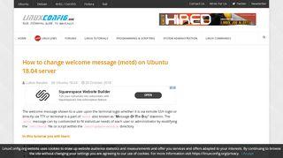 How to change welcome message (motd) on Ubuntu 18.04 server ...