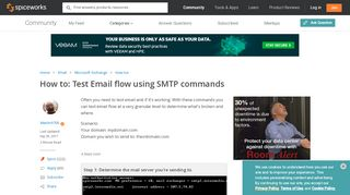 How to test email flow using SMTP commands - Spiceworks