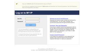 International Paper My-IP Login Page