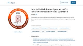 Interskill - Mainframe Operator - z/OS Infrastructure and Systems Operation - Acclaim