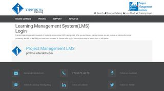 Learning Management System(LMS) Login - Project Management Training Online by Interskill Learning