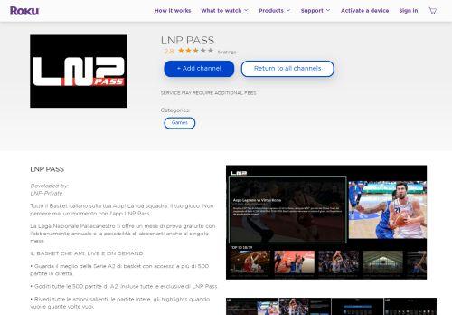 LNP PASS   Roku Channel Store   Roku