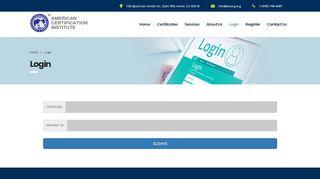 Login – American Certification Institute