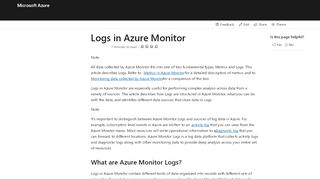 Logs in Azure Monitor | Microsoft Docs