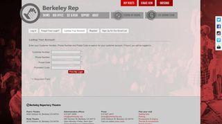 Lookup Your Account - BERKELEY REPERTORY THEATRE | Login