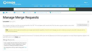 Manage Merge Requests - Coupa Success Portal